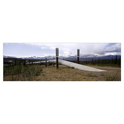 Pipeline passing through a landscape, Trans-Alaska Poster