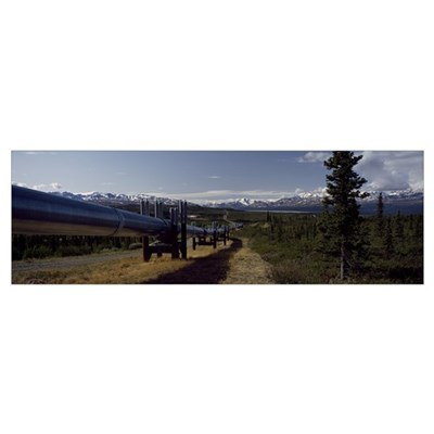 Pipeline passing through a landscape, Trans-Alaska Poster