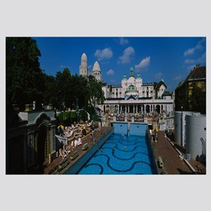 Thermal pool in front of a building, Hotel Gellert
