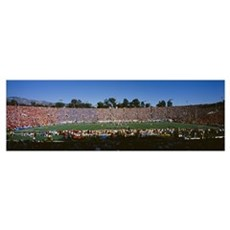 Spectators in a stadium, Rose Bowl Stadium, Pasade Poster