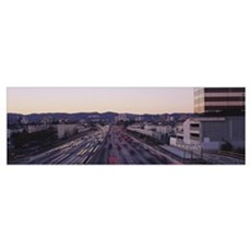 Traffic moving on the highway, 405 Freeway, City o Canvas Art