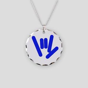 ASL Rocks Bright Blue Necklace Circle Charm