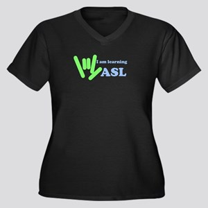 Learning ASL Women's Plus Size V-Neck Dark T-Shirt