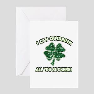 Funny Irish drinking design Greeting Card