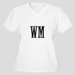 Black Initials. Customize. Women's Plus Size V-Nec