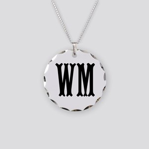 Black Initials. Customize. Necklace Circle Charm