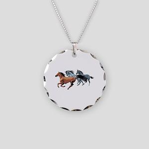 Horses Necklace Circle Charm