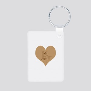 Brown Lab Puppy and Heart. Aluminum Photo Keychain