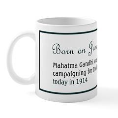 Mug: Mahatma Gandhi was first arrested, campaignin