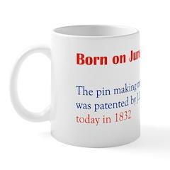 Mug: Pin making machine was patented by J.I. Howe