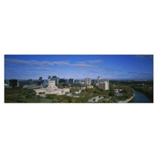 High angle view of a city, Winnipeg, Manitoba, Can Poster