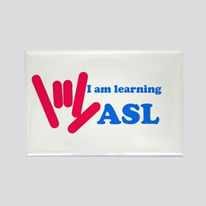 Learning ASL: Red and Blue Rectangle Magnet
