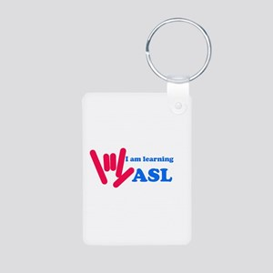 Learning ASL: Red and Blue Aluminum Photo Keychain