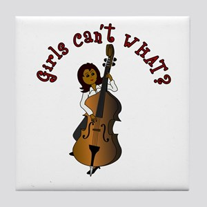 String Upright Double Bass Woman Tile Coaster