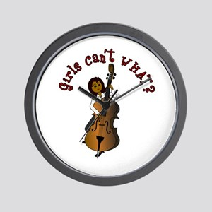 String Upright Double Bass Woman Wall Clock