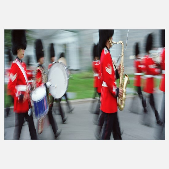 Guards marching with musical instrument, Changing