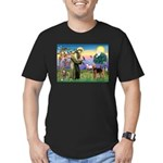 Saint Francis & Airedale Men's Fitted T-Shirt (dar