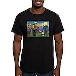 St. Francis & Beardie Men's Fitted T-Shirt (dark)
