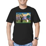 St. Francis & Collie Men's Fitted T-Shirt (dark)