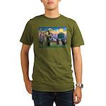St. Francis/3 Labradors Organic Men's T-Shirt (dar