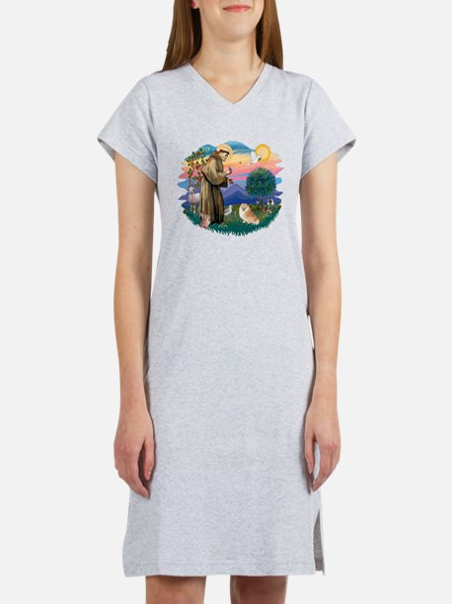 St.Francis #2/ Pomeranian (r) Women's Nightshirt