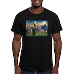 St Francis / Std Poodle(a) Men's Fitted T-Shirt (d