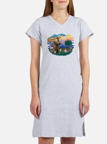 St Francis #2/ Pug (fawn) Women's Nightshirt