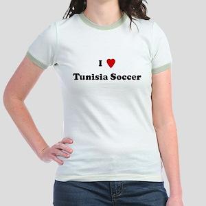 I Love Tunisia Soccer Jr. Ringer T-Shirt