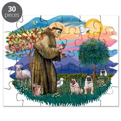 St.Francis #2/ Pugs (2 fawn) Puzzle