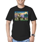 Saint Francis & Two Pugs Men's Fitted T-Shirt (dar