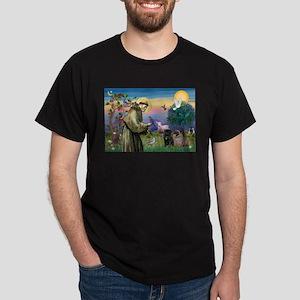 Saint Francis & Two Pugs Dark T-Shirt