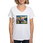 St. Fran #2 / Wheaten Terrier Women's V-Neck T-Shi