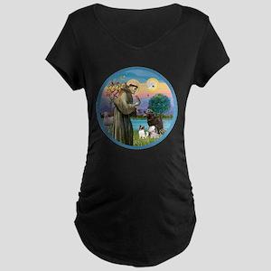 St Francis/3 dogs Maternity Dark T-Shirt