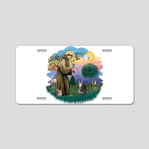 St. Fran (f)-Tabby/white cat Aluminum License Plat