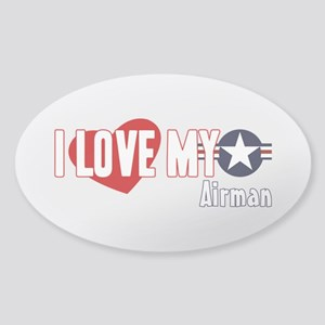 I Love My Airman Sticker (Oval)