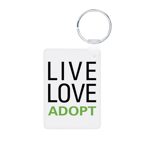 Live Love Adopt Aluminum Photo Keychain