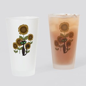 Sunflower Black Cat Drinking Glass