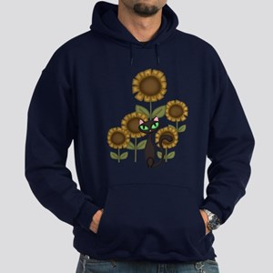 Sunflower Black Cat Hoodie (dark)
