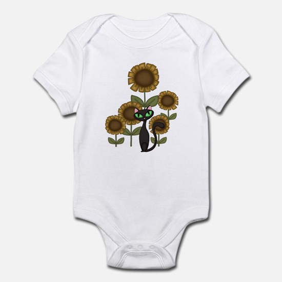 Sunflower Black Cat Infant Bodysuit