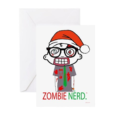 Zombie Nerd. Holiday Greeting Card