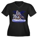 Bubbalicious Women's Plus Size V-Neck Dark T-Shirt