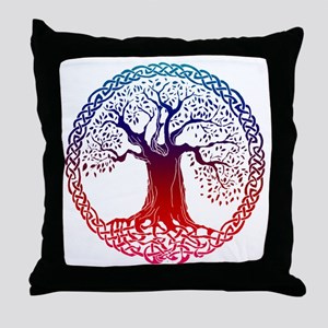 Sunset Celtic Tree Throw Pillow