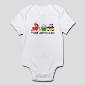 1st Valentines Day Train Infant Bodysuit