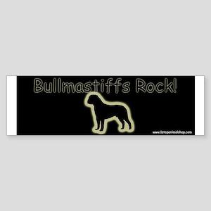 Bullmastiffs Rock gold on black bumper sticker