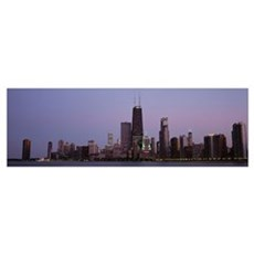Night skyline Chicago IL Poster