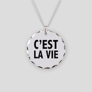 C'est La Vie Necklace Circle Charm