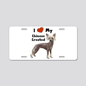 I Love My Chinese Crested Aluminum License Plate