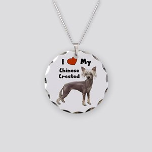 I Love My Chinese Crested Necklace Circle Charm