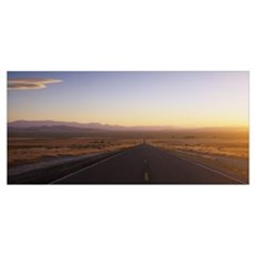 Road passing through a landscape, Nevada State Rou Poster