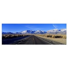 Highway passing through a landscape, Eastern Sierr Poster